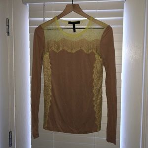 Nude tee shirt with neon yellow lace